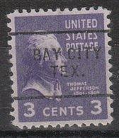 USA Precancel Vorausentwertung Preo, Locals Texas, Bay City 703 - Vorausentwertungen
