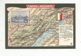 Mo , Cp , Carte Géographique , CANTON DE NEUCHÂTEL , Vierge , Blason , Photo - Maps