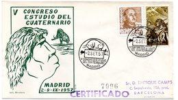 FAUNE / MAMMOUTH = ESPAGNE - MADRID 1957 = CACHET  Illustré Congreso Estudio Del Cuaternario - Stamps