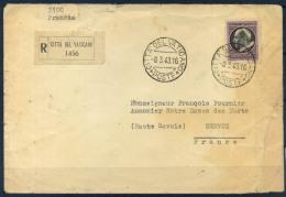 Vaticano 1943 Busta 40% Raccomandata, Francia, Servoz - Covers & Documents