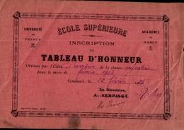 TABLEAU D'HONNEUR , école Supérieure , COMMERCY , Février 1924 , Dimension 19 X 13 CM - Diplômes & Bulletins Scolaires