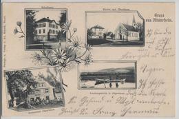 Gruss Aus Altenrhein - Schulhaus, Kirche Und Pfarrhaus, Restaurant Jägerhaus, Landungsstelle - Photo: Ad. Schenk - SG St. Gall