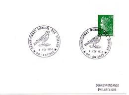 OISEAU / OISEAUX = 06 ANTIBES 1974 = CACHET Illustré = CHAMPIONNAT MONDIAL - Marcophilie (Lettres)
