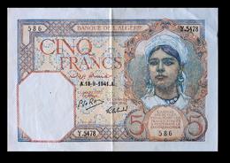 # # # Banknote Algerien (Algeria) 5 Francs 1941 Au- # # # - Algeria