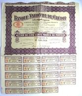 1930 Action 500 Francs Au Porteur Banque Nationale De Crédit - - Banca & Assicurazione
