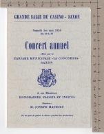 Grande Salle Du Casino - Saxon - Concert Annuel 1er Mai 1954 - Fanfare Municipale La Concordia - Manifestations