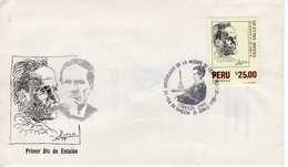 PERU - 1988 The 50th Anniversary Of The Death Of Cesar Vallejo, Poet, 1892-1938  FDC5536 - Peru