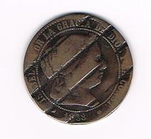 -&   SPANJE RARITEIT 2 1/2  CENTIMOS  1868  MET INSLAG AAN DE 2 KANTEN - [ 1] …-1931 : Kingdom