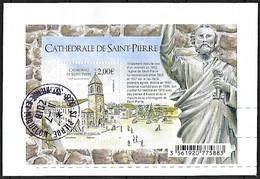 St.Pierre Et Miquelon  N°1196 BLOC  CATHÉDRALE   OBLITERE ST PIERRE SUR FRAGMENT - St.Pierre & Miquelon