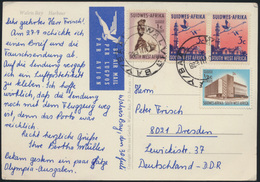 Brief Südwestafrika Namibia Luftpost MIF 338+339+342 Walvis Bay Vögel Kraniche  - Namibia (1990- ...)