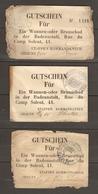MILITARIA 1915 LOT DE 3 BONS DOUCHE BAIN GUTSCHEIN FUR EIN WANNEN ODER - ETAPPEN KOMMANDANTUR CHAUNY AISNE ( 02 ) - 1914-18