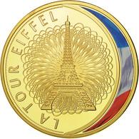 France, Médaille, Les Emblèmes Français, La Tour Eiffel, FDC, Copper Gilt - France