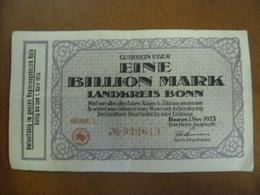 1 Billion Mark ALLEMAGNE Bonn 1923 - Château Burg Gudenau - [11] Local Banknote Issues