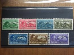 ALBANIA 1931 - 1° Volo Tirana-Roma Nn. 36/42 Nuovi * (alcuni Piccoli Assottigliamenti) + Spedizione Prioritaria - Albania