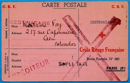 Sur Rare Carte Postale CROIX ROUGE FRANCAISE C.R.F. 75008 PARIS 1944 Griffe SIMPLE TAXE Et Grand X Rouge - Guerre De 1939-45