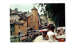 Cpm - 74 - Annecy - Les Bords Du Thiou - Artiste Peintre Tableau - Parasol FISCHER Bière Publicité - Annecy