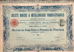 SOCIETE MINIERE ET METALLURGIQUE FRANCO-ESPAGNOLE 1901 - Azioni & Titoli