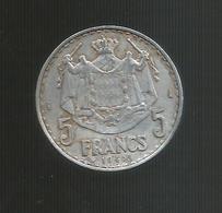 MONACO - Louis II - 5 FRANCS 1945 - 1922-1949 Luigi II