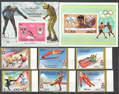 O574 !!! IMPERFORATE, PERFORATE AJMAN SHARJAH OLYMPIC GAMES ROME SAPPORO GRENOBLE !!! 1SET+2BL MNH - Invierno 1972: Sapporo