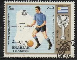 PIA- ARAB. SUD EST - SHARJAH - 1972 - Giochi Olimpici Di Monaco - Incontri Di Calcio : Uruguay-Argentina 4-2 -(Yv  245) - Saudi Arabia