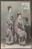 Saïgon (Viêt-Nam) - Deux Beautés Japonaises - Carte Couleur Animée Circulée En 1909 - Viêt-Nam