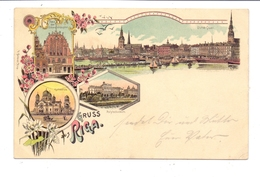 LATVIJA - RIGA, Lithographie, Gruss Aus..., Feldpost 1.Weltkrieg, 1917 - Letland