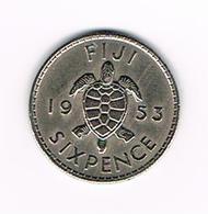-&   FIJI  SIXPENCE  1953 - Fidji