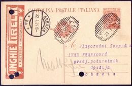 ITALIA - CARD TASSELLO  PUBBLICITARIO - PIRELLI  CINGHIE - VOLOSCA - 1924 - Reclame