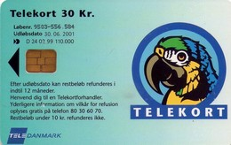 TARJETA TELEFONICA DE DINAMARCA. TDD024 - PARROT A. (030) - Danemark