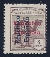 ESPAÑA/SAHARA 1935 - Edifil #46D - MNH ** - Variedad: Sobrecarga Roja Calcada Al Dorso - Sahara Español