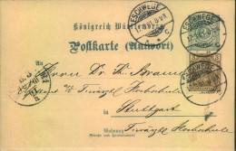 1901, Seltene Mischfrankatur 3 Pfg. Germania Reichspost Auf Württembergischer 2 Pfg. Antwortkarte Ab Eschwege. Nur Kurze - Allemagne