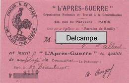 """Carte De L'organisation """" L'Après Guerre """" - Retour Au Travail Des Poilus -  1916 - 1914-18"""