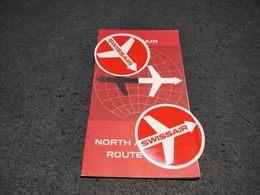 VINTAGE NORTH ATLANTIC ROUTE MAP SWISSAIR AIR LINES 1965 - Maps