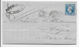 1862 - LETTRE De LORIENT (MORBIHAN) Avec PC 1761 TARDIF - 1849-1876: Période Classique
