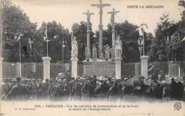 22-TREGUIER- VUE DU CALVAIRE DE PROTESTATION ET DE LA FOULE LE MATIN DE L'INAUGURATION - Tréguier