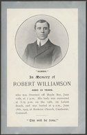 In Memoriam, Robert Williamson Of Camborne, Cornwall, 1905 - Postcard - England