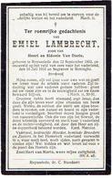 Doodsprentje LAMBRECHT Emiel - °RUISELEDE 1893, Gesneuveld In 1916 En Begraven Te RENINGE - 1914-18