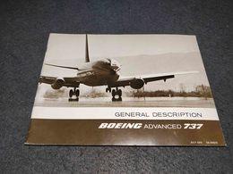 RARE VINTAGE GENERAL DESCRIPTION BOEING ADVANCED 737 MANUAL BOOKLET 40 PAGES SIGNED - Aviation Commerciale
