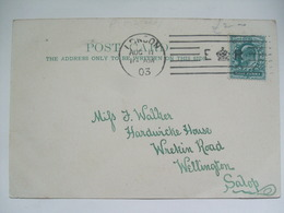 GB Edward VII Postcard 1903 With E Crown R Lined Postmark London To Wellington Shropshire - Lettres & Documents