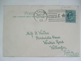 GB Edward VII Postcard 1903 With E Crown R Lined Postmark London To Wellington Shropshire - 1902-1951 (Kings)