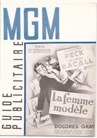 """Guide Publicitaire MGM """" La Femme Modèle """" Gregory Peck Et Lauren Bacall - Cinema Advertisement"""