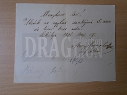 DC30.3  Hungary  Szekulya 1891  - 5 L. Wine  1.5 Frt  Bill - Invoices & Commercial Documents