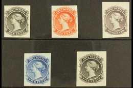 1860-63 1c Black, 1c Vermilion, 2c Lilac, 5c Blue & 5c Black IMPERF PROOFS On India Paper, All Matching SG Type 3 Design - Nova Scotia