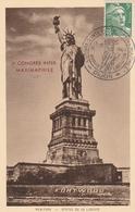 OBLIT. ILLUSTRÉE CONGRES MAXIMAPHILES - DIJON 13.9.47 - STATUT LIBERTÉ - Commemorative Postmarks