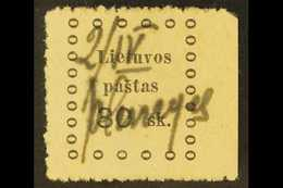 """1919 PROVISIONAL MANUSCRIPT CANCEL. 1919 Second Kaunas 30sk Stamp With Manuscript """"2 / IV / Plunge"""" Just 2 Weeks After T - Lithuania"""