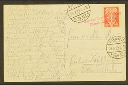 """1929 CRANZ - MEMEL SHIP LINE. (29 Aug) Picture Postcard Addressed To Kahlberg, Bearing 15c Stamp Tied By Rare """"Aus Dem D - Lithuania"""