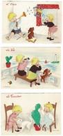 LES CINQ SENS Illustrations Naïves De F. BURGUIERE Série Barré-Dayez Cartes Neuves En Très Bon état - Cartes Postales