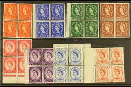 1958-61 Wilding Graphite Set Complete, SG 587/94, Never Hinged Mint BLOCKS OF FOUR (8 X Blocks 4 = 32 Stamps) For More I - 1952-.... (Elizabeth II)