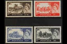 1959 2nd De La Rue Castles Set, SG 595/598, Fine Never Hinged Mint. (4) For More Images, Please Visit Http://www.sandafa - 1952-.... (Elizabeth II)