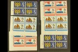 1963 International Lifeboat Conference Ordinary & Phosphor Sets (SG 639/41 & SG 639p/41p) In CYLINDER NUMBER BLOCKS OF F - 1952-.... (Elizabeth II)